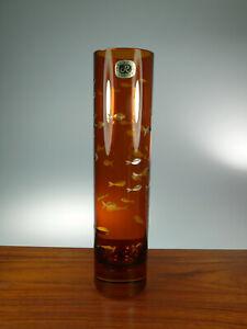 Carl Rotter Zylinder Vase Bernsteinfarben Geschliffene Fische Höhe ca.25cm 0203