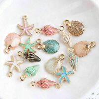 13 Pcs/Set Mixed Starfish Conch Shell Metal Charms Pendant DIY Jewelry Making ak