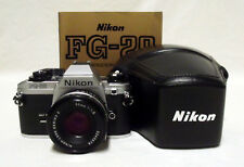 NIKON FG-20 35mm SLR Film Camera w/1.8 50mm Lens Meter Tested Working w/Case