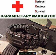 Paracord Navigator Survival Bracelet / Compass Fishing Kit Flint Fire Whistle