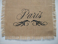 'Paris' Script Jute Burlap Table Runner