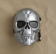 Silver color Paintball Gun Full Face Protection T800 Terminator Skull Mask Prop