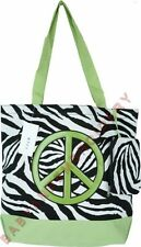 Tote Bag Purse Shopper Zebra Lime Green Peace Sign FREE Rhinestone Transfer