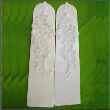 Fancy White Bridal Embroidered Lace Satin & Pearl Fingerless Wedding Prom Gloves