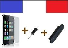 1 LOT NOIR anti-poussière + 1 FILM DE PROTECTION D'ECRAN iphone bouchon 3G 3Gs