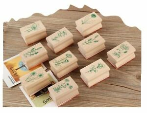 Set of 10 Assorted A Bunch of Flower Floral Plant Wooden Wood Stamp