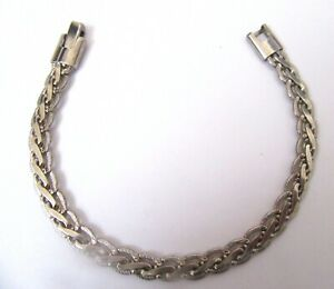 Sterling Silver Bracelet - pretty braided design- 7.5 inches long