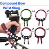 Archery Bow Slings Compound Bow Wrist Sling Paracord Braided Strap Leather Yoke