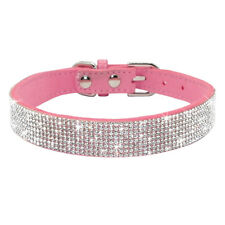 Adjustable Puppy Small Cat Dog Collar Bling Leather Pink Black Blue Purple Red