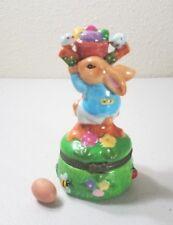 "Porcelain Hinged BUNNY CLIMBING TREE Trinket Box w/Egg 4"""