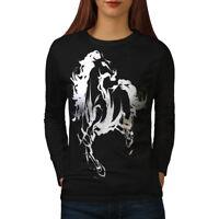 Wellcoda Horse Cool Printed Womens Long Sleeve T-shirt, Wild Casual Design