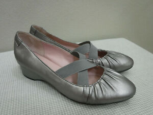 Women's TARYN ROSE FLORINE 9 Silver Leather Wedge Heel Strappy Mary Janes Shoes