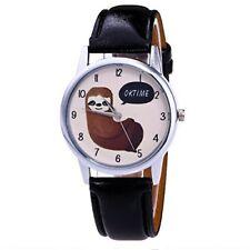 Mixe Fashion Women Men Unisex Sloth Dial Leather Analog Wrist Watch Student Part
