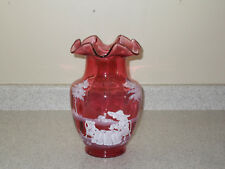 """Fenton Mary Gregory Cranberry 10"""" """"Tea Party"""" Vase  2001 Collection"""
