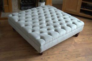 100cm x 100cm Extra Large Chesterfield Deep Buttoned Footstool in Silver Fabric