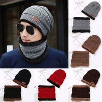 Men Beanie Hat Scarf Set Fleece Lining Knit Hat Warm Thick Winter Ski Mountain