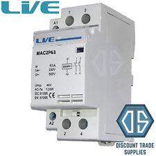 63 Amp 2 polos del Contactor ac 12 kW normalmente abierto montaje en carril DIN iluminación de calefacción