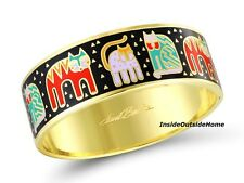 Laurel Burch Cat Hinge Bangle Bracelet FantastiCats Multi on Black Cloisonne NEW