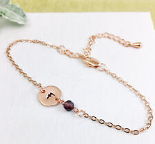 Rose Gold Initial & Birthstone Chain Bracelet Personalised Gift