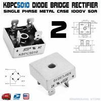 2pcs KBPC5010 Diode Bridge Rectifier Single Phase Metal Case 1000V 50A KBPC-5010