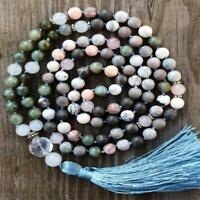 8mm Rose stone Gemstone knot mala 108 Necklace Handmade Wristband men Healing