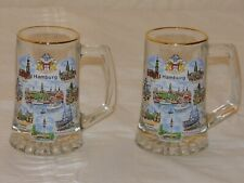 Pair of Vintage German Beer Glass Mugs from Hamburg Germany