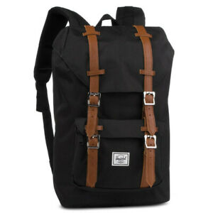 Herschel Little America Men Backpack Rucksack 25 L (BLACK/TAN SYNTHETIC LEATHER)