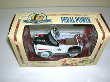 "Golden Wheel Die Cast Metal Police Car #7 Pedal Power Car 4""  w/ COA & BOX"