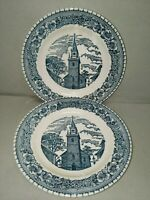 Vintage USA Blue and White Church Steeple Saucers (2)
