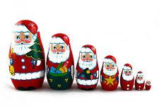 Santa Claus Christmas New Year Matryoshka Russian Nesting Dolls Babushka 7 Pcs