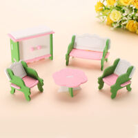 Retro Doll House Miniature Living Room Wooden Furniture Set Kids Role    AU1