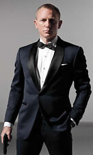 Custom Made Navy Blue Skyfall Tuxedo With Black Satin Shawl Lapel Wedding Suits