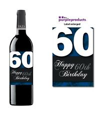 Blue Happy 60th Birthday Glossy Wine & Champagne Bottle Gift Present Label