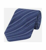 Turnbull & Asser Basket Weave Lines Tonal Blue Silk Tie 8cm