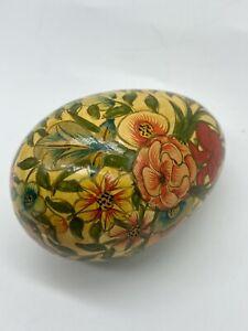 Vintage Hand Painted Decorative Egg Floral Design Varnished Wood