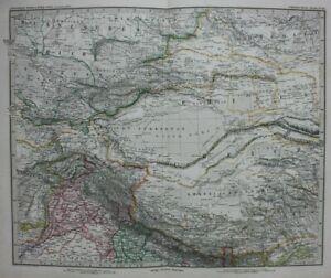 Original antique map CENTRAL ASIA, GOBI DESERT, TIBET, CHINA, Stieler, 1886