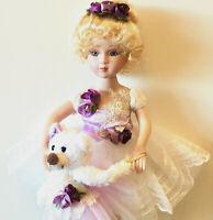 Porcelain Ballerina Doll-Blonde Angel Princess Ballerina W/Bear Porcelain Doll