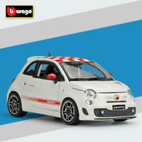 Bburago Racing Car Fiat Abarth 500 White/Red 1/24 Scale Diecast Model Toy W/Case