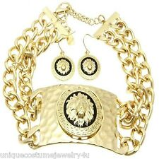 Chunky, Bold & Sexy 18K Gold Plated Hammered Lion Head ID Statement Necklace Set