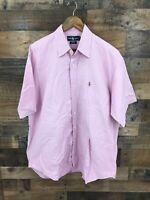 """Ralph Lauren Men's Pink 100% Cotton """"Blake"""" Short Sleeve Button Up Shirt Size L"""