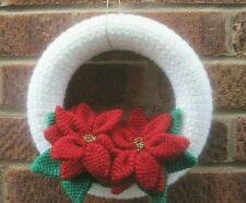 HAND KNITTED LUXURY WALL DISPLAY.  LARGE XMAS BEADED RED POINSETTIAS