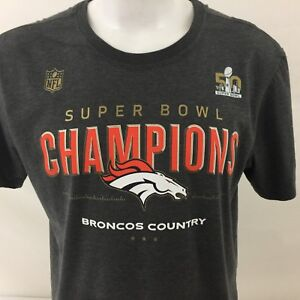 Super Bowl 50 Champion Denver Broncos Nike Mens T Shirt Large Athletic Cut Gray
