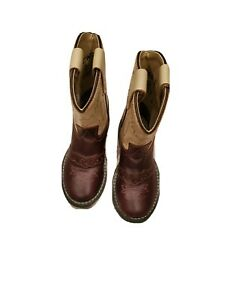 Old West White Brown Leather Stockman Cowboy Western Boot Toddler Size 6