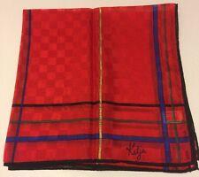 """Vintage Katja For XIIX Karat Sheer Red Scarf 21"""" Square"""