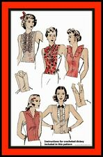 DICKEYS Top Vintage 1940's HOLLYWOOD Fabric Sewing Pattern 1085 1 CROCHETED