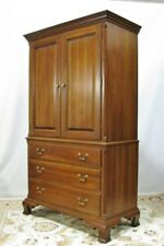 Exceptionally Nice Solid Cherry Chippendale Style Armoire By Ethan Allen