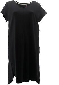 Isaac Mizrahi Petite Essentials Tulip Hem Midi Dress Black PXS # A353924