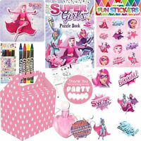 Pre Filled Pink Girls Superhero Party Bags Boxes For Childrens Birthday Gifts