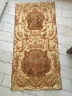 Antique French  Woven Gold Tapestry Flowers Sheep Man And Woman
