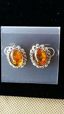 Poland Artisan 925 Sterling Silver Cognac Baltic Amber Marcasite Stud Earrings